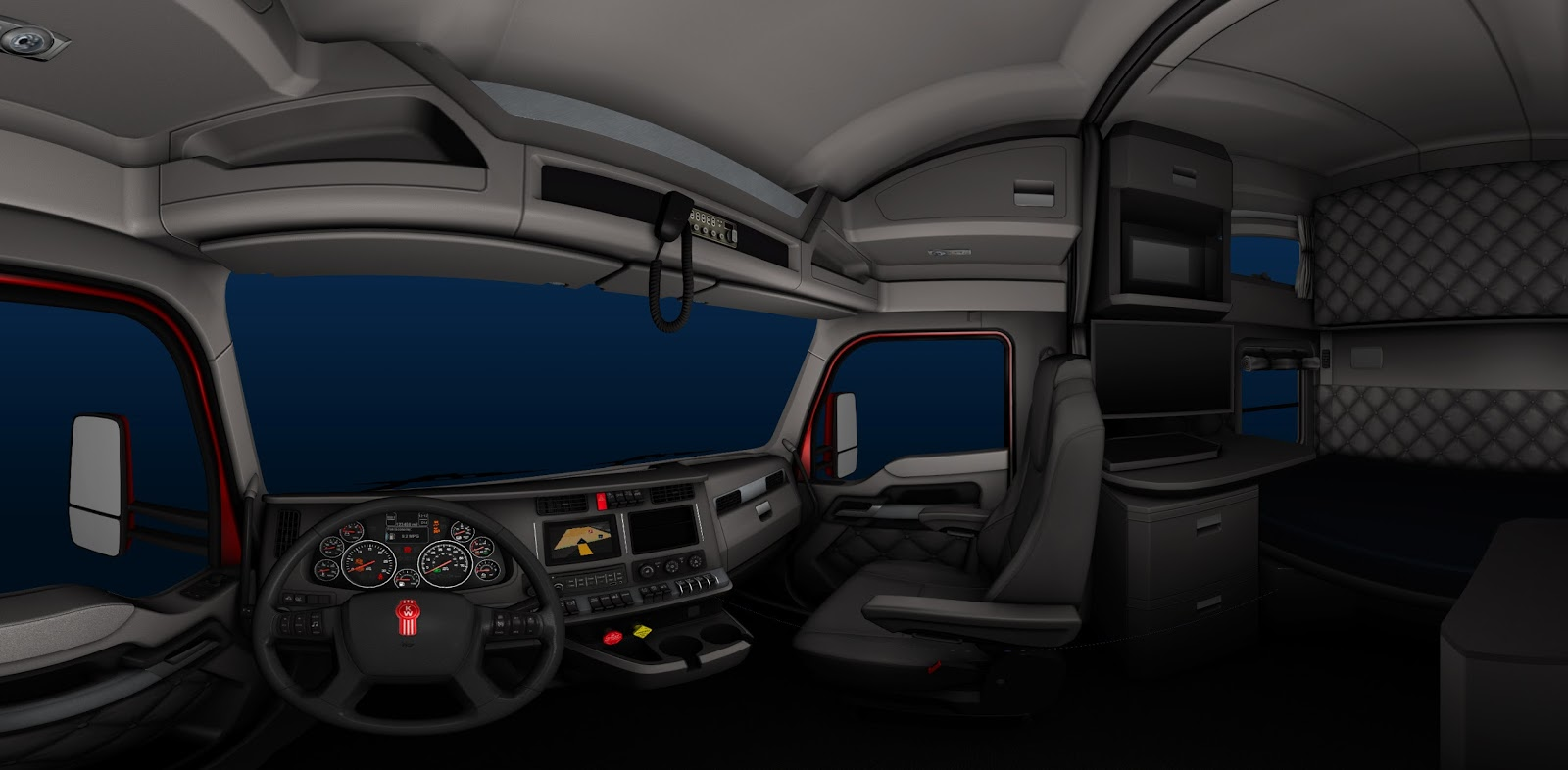 Kenworth T680 Truck Interior In American Truck Simulator Game 1