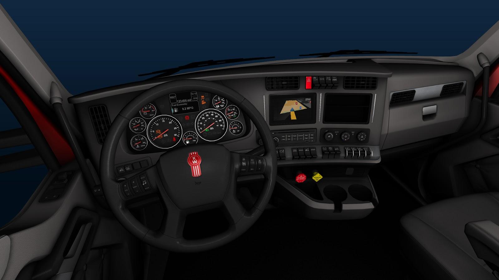 Kenworth t680 truck interior in american truck simulator for Interiores 2016